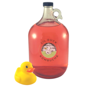 gallon of dragonberry kombucha from lil duck